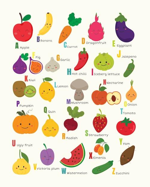 Set of vegetable and fruit alphabet. Premium Vector