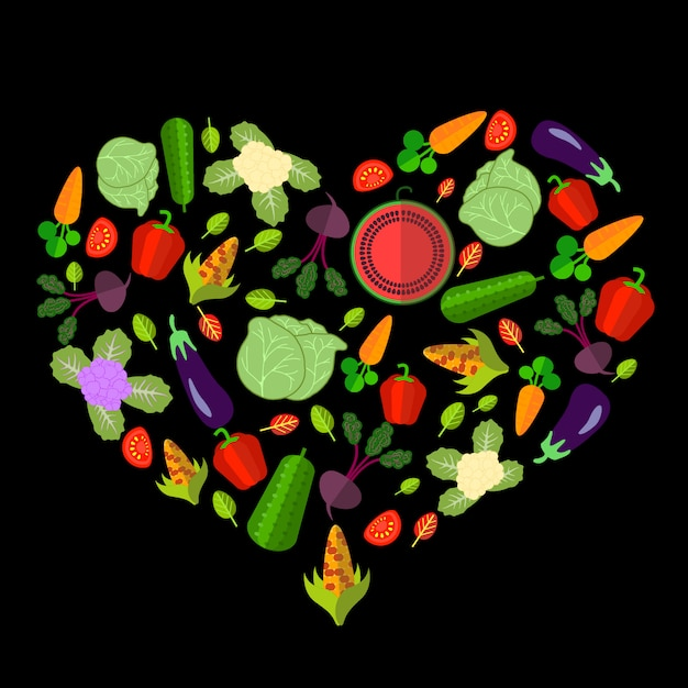Set of vegetables in the form of heart on the black Premium Vector