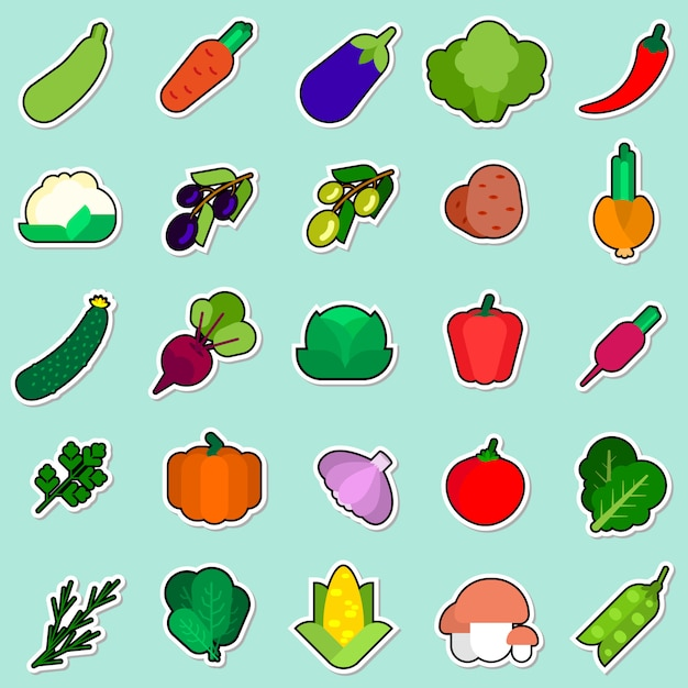 Set of vegetables sticker on blue background colorful icons collection Premium Vector