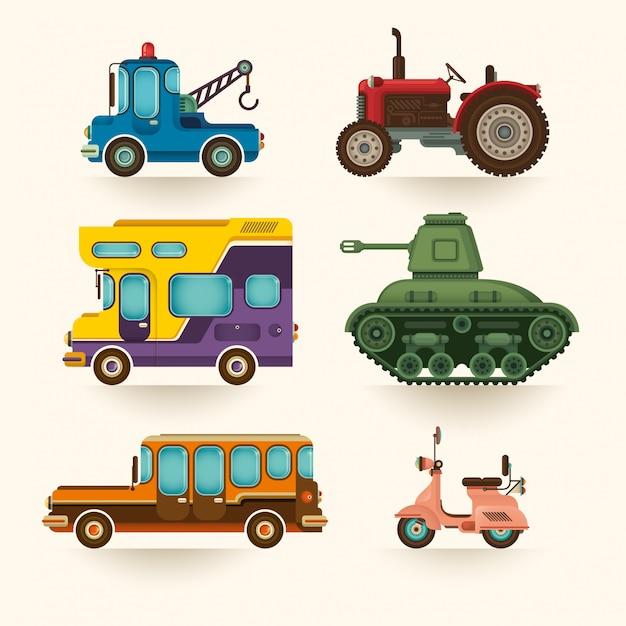 Set of vehicles Premium Vector