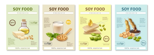 Set di manifesti pubblicitari verticali con prodotti alimentari di soia su colorato isolato Vettore gratuito