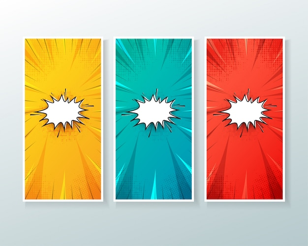 Set of vertical banner background with comic style Premium Vector
