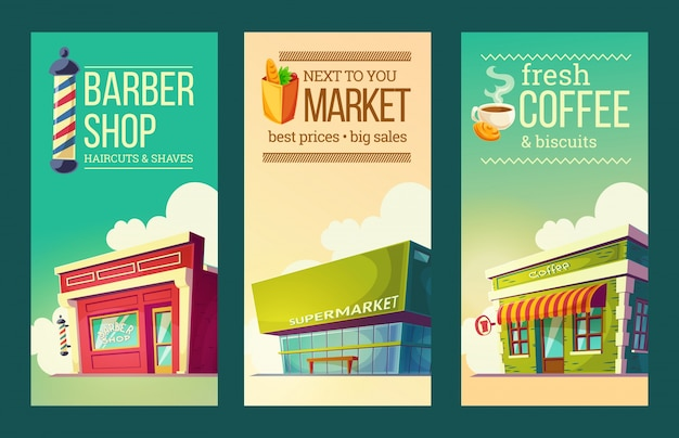 Set vertical banners in retro style with supermarket, barber shop, coffee house Free Vector
