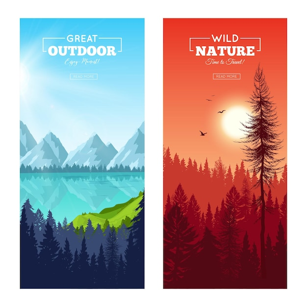 Set of vertical banners with realistic pine forest near mountain lake and at sunset isolated Free Vector