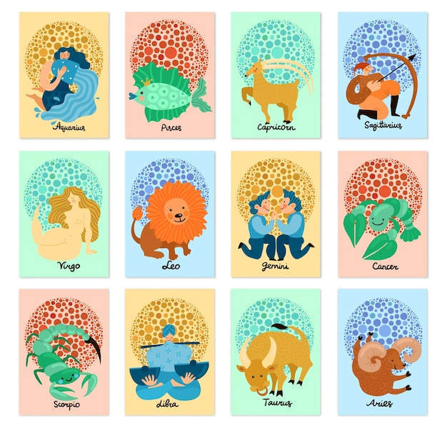 Set di carte verticali con segni zodiacali disegnati a mano isolati su sfondo pastello Vettore gratuito