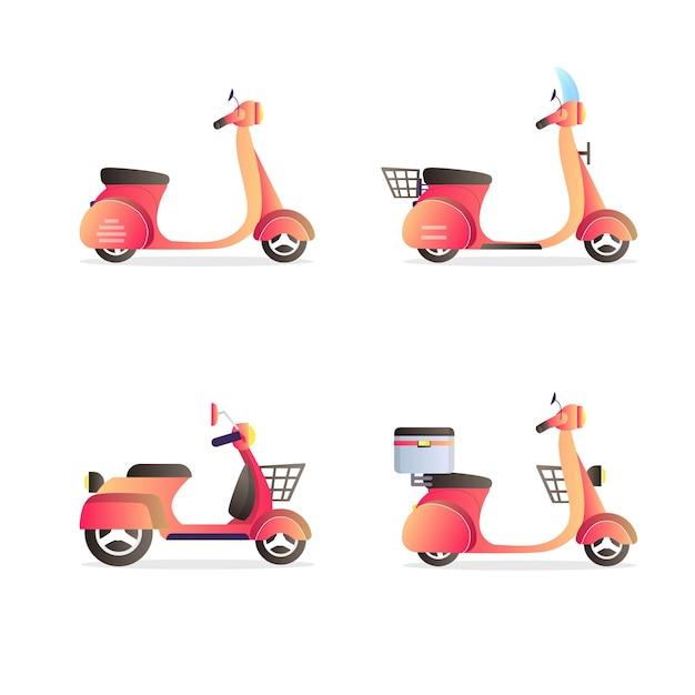 Set vespa scooter vehicles collection illustration Premium Vector