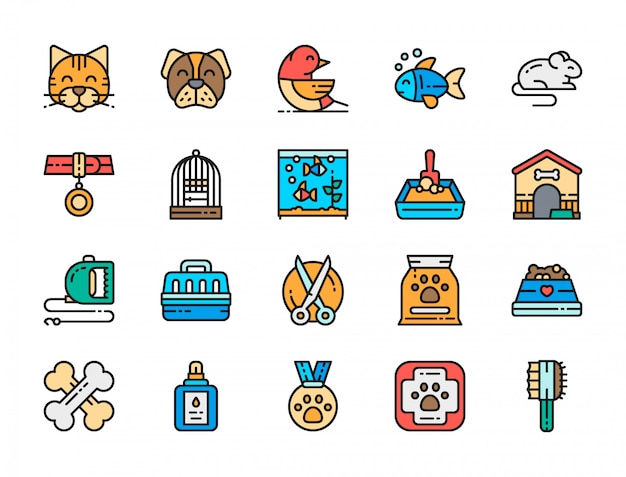 Set of vet clinic flat color icons. Premium Vector