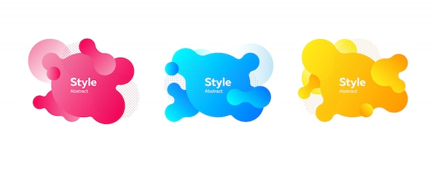 Set of vibrant liquid shapes for presentation banner Free Vector