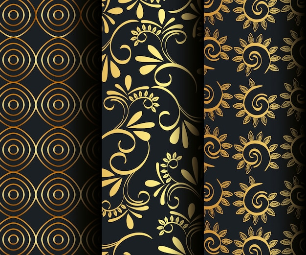 Set victorian and floral golden seamless patterns Free Vector