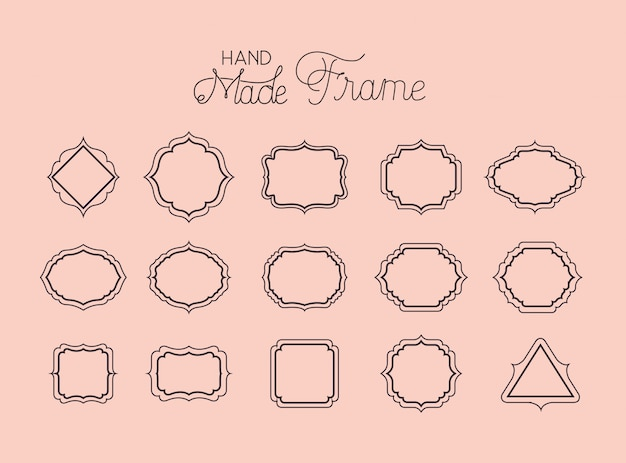 Set of victorian hand made frames Premium Vector