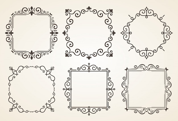 Set of victorian vintage decorations elements and frames Premium Vector