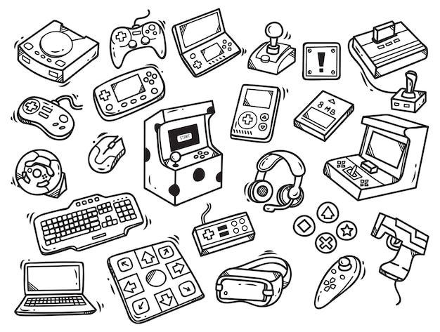 Set of video game doodle Premium Vector