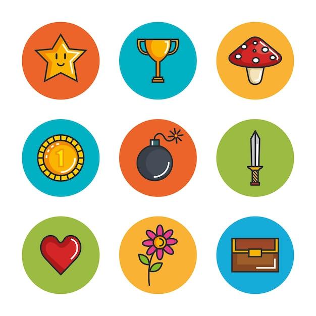 Set Video Game Entertaining Items Symbols Vector Premium Download