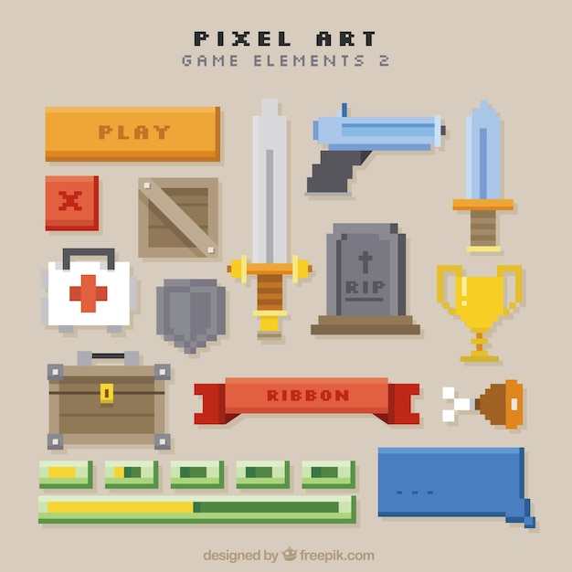 Set of video game weapons and items Free Vector