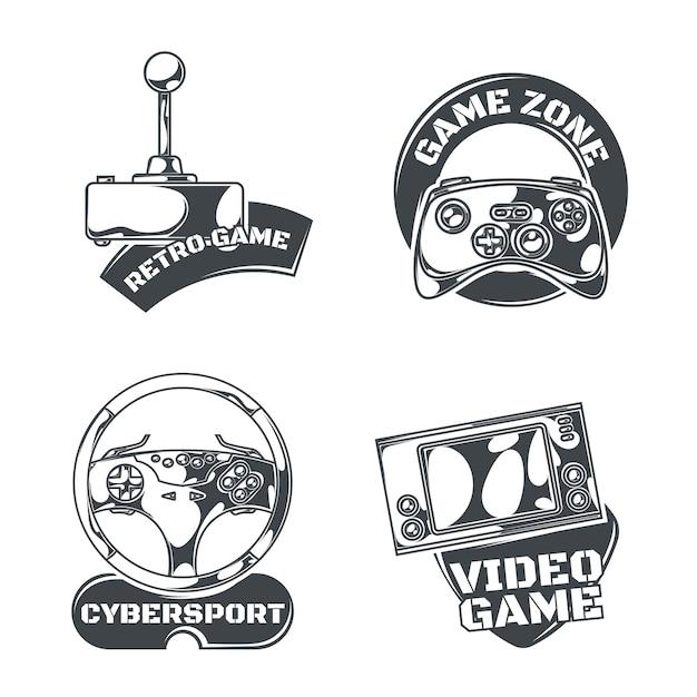 Set di emblemi di videogiochi, etichette, distintivi, loghi. isolato su bianco Vettore gratuito