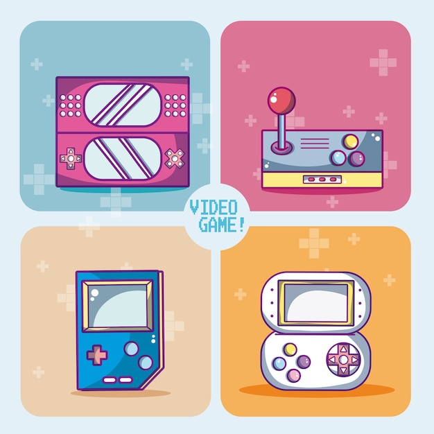 Set of videogames icons in colorful squares vector illustration graphic design Premium Vector