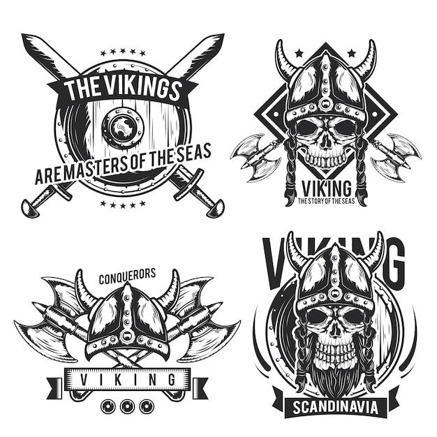 Set di emblemi vichinghi, etichette, distintivi, loghi. isolato su bianco Vettore gratuito