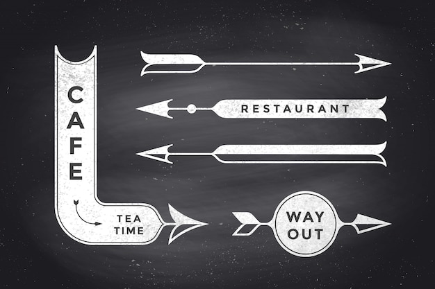 Set of vintage arrows and banners Premium Vector