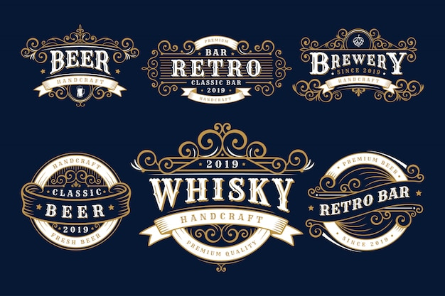 Set of vintage badges brewery, brewery shop and emblems Premium Vector