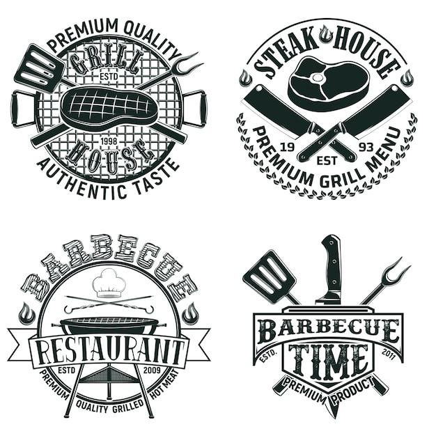 Set of vintage barbecue restaurant logo designs,  grange print stamps, creative grill bar typography emblems Premium Vector