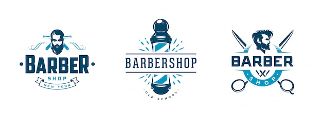 Set of vintage barber shop badges and emblems isolated on white Premium Vector