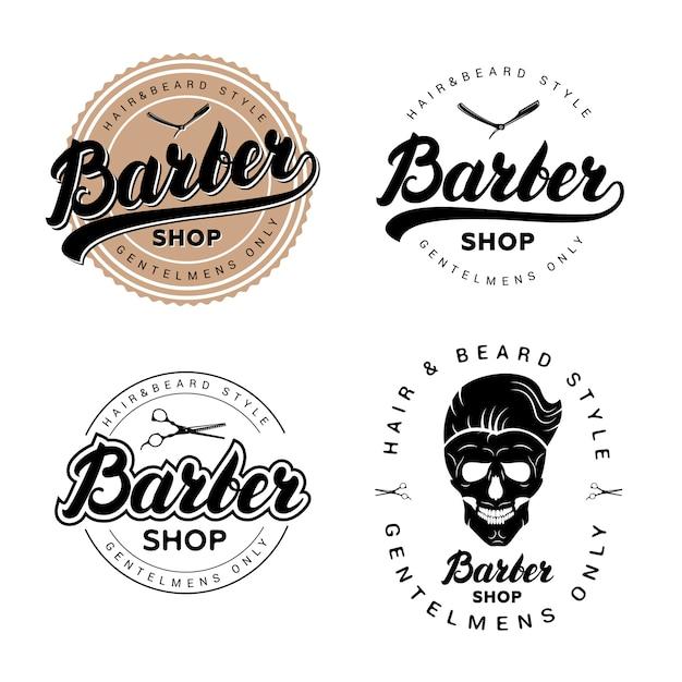 Set of vintage barber shop badges, emblems, labels or logotype. Premium Vector