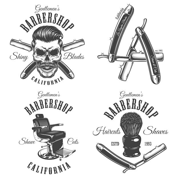 Set of vintage barbershop emblems Premium Vector