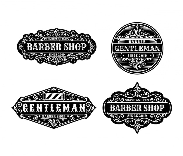 Set of vintage barbershop label design, calligraphy and typography elements styled design Premium Vector