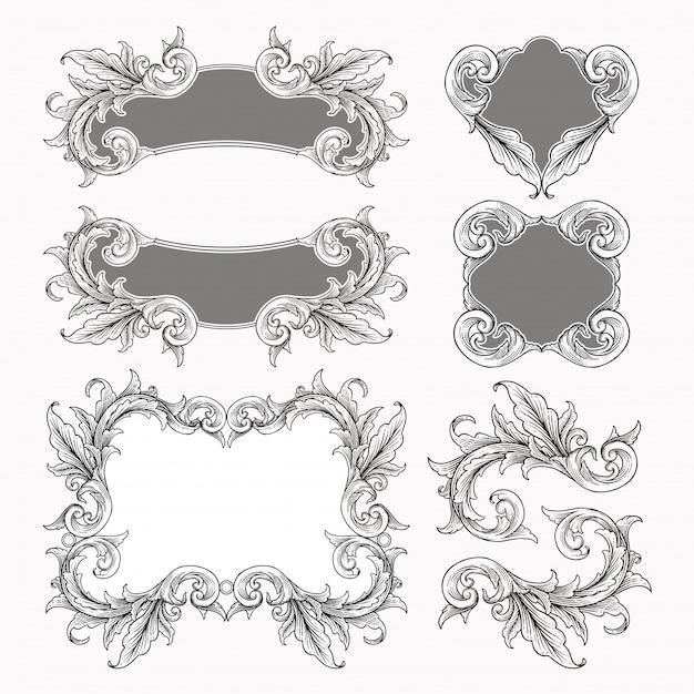 Set of vintage baroque frame scroll ornament Premium Vector