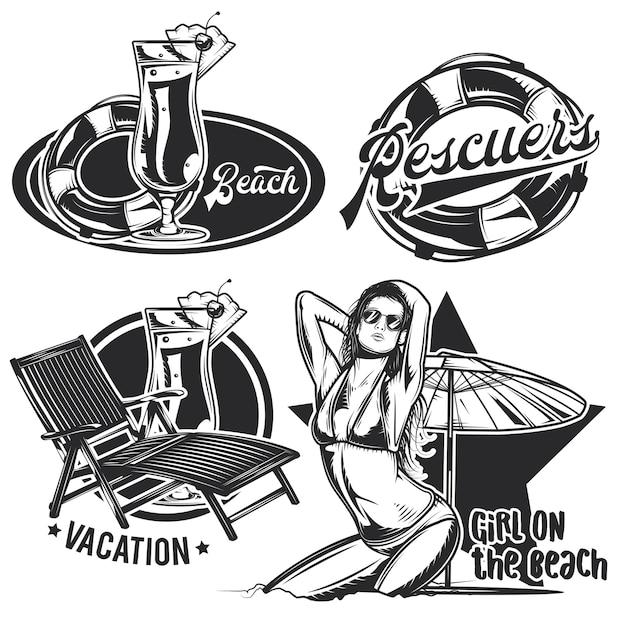 Set di emblemi spiaggia vintage Vettore gratuito