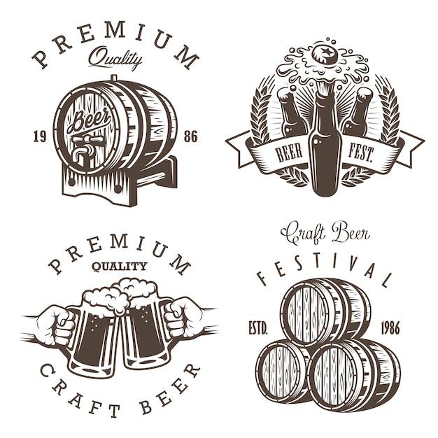 Set di emblemi, etichette, loghi, distintivi ed elementi progettati del birrificio di birra vintage. stile monocromatico. isolato su sfondo bianco Vettore gratuito