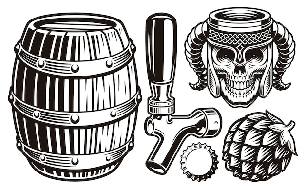 Set of vintage beer illustrations Premium Vector