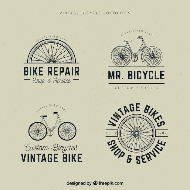 Set of vintage bicycle logos Free Vector