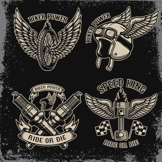 Set of vintage biker motorcycle emblems on dark background. for logo, label, sign, prints.  image Premium Vector