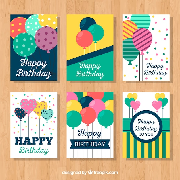 Set of vintage birthday cards with balloons Free Vector