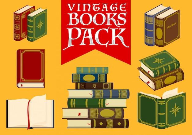 Set of vintage books stock vector illustration Premium Vector