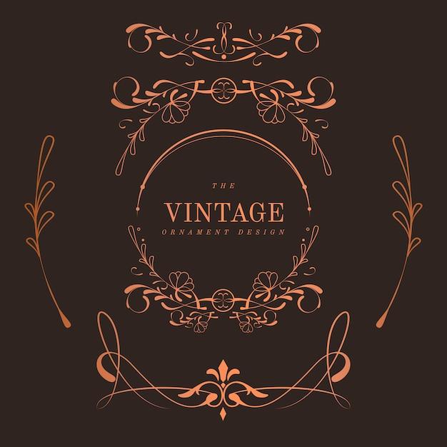 Set of vintage bronze art nouveau badges vector Free Vector