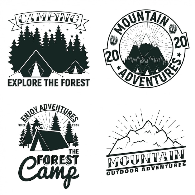 Set of vintage camping or tourism logo designs,  grange print stamps, creative typography emblems, Premium Vector