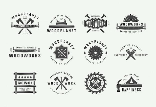 Set of vintage carpentry labels Premium Vector