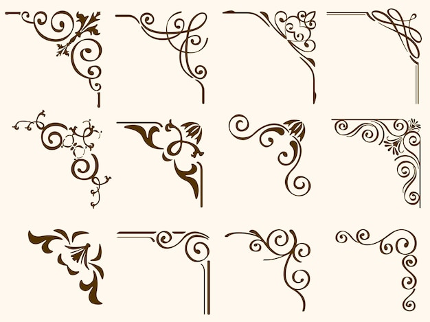 Set of vintage corner frames isolated on a plain Free Vector