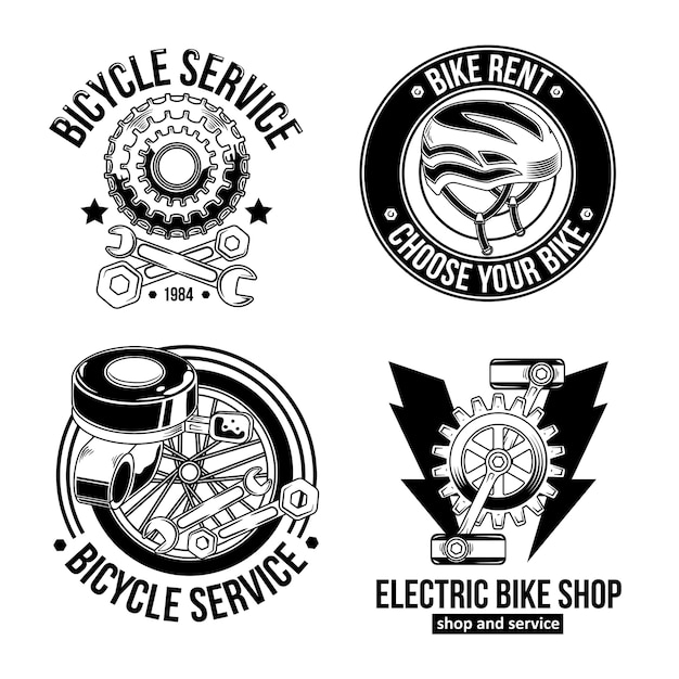 Set of vintage cyclist emblems, logos. isolated on white. Free Vector