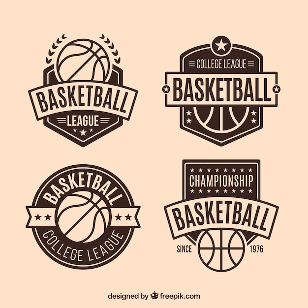 Set of vintage decorative basketball badges Free Vector