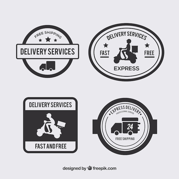 Set of vintage delivery stickers Free Vector