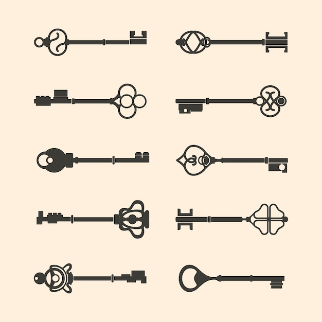 Set of vintage design key vectors Free Vector