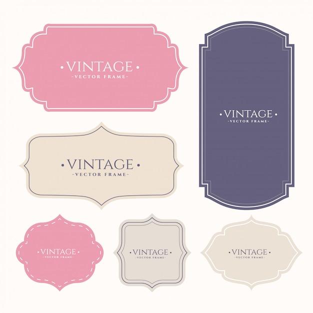 Set di etichette vintage frame Vettore gratuito