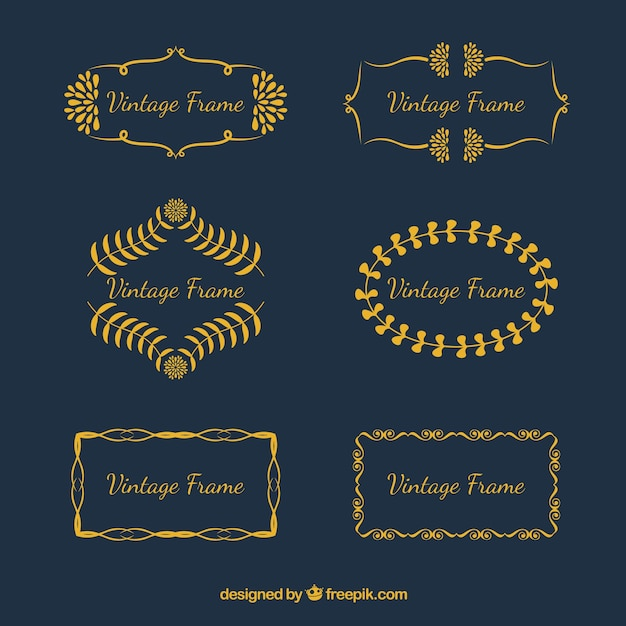 Set of vintage frames in golden style Free Vector