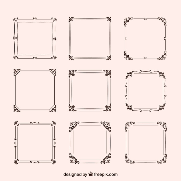 Set of vintage frames with ornaments Free Vector