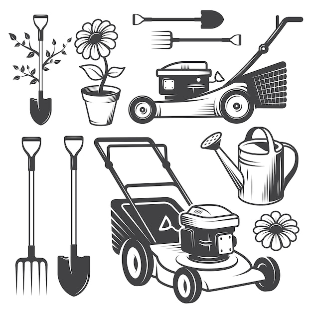 Set of vintage garden logos and designed elements. monochrome style Free Vector