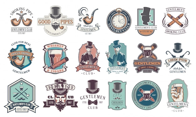 Set of vintage gentleman emblems, labels. Free Vector