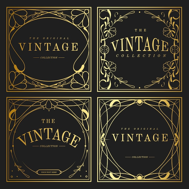 art nouveau decor.htm set of vintage golden art nouveau elements vector free vector  art nouveau elements vector free vector